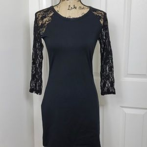 Express Black Dress with Lace Sleeves